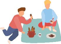 ピクニックをする人たちのイラスト