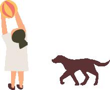 女の子と犬のイラスト